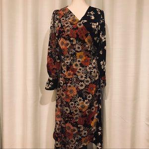 Zara kimono long sleeve floral wrap dress size L